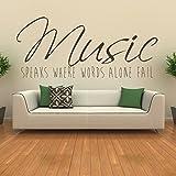 La musique parle Stickers Muraux Musique Sticker Art Disponible en 5 tailles et 25 couleurs