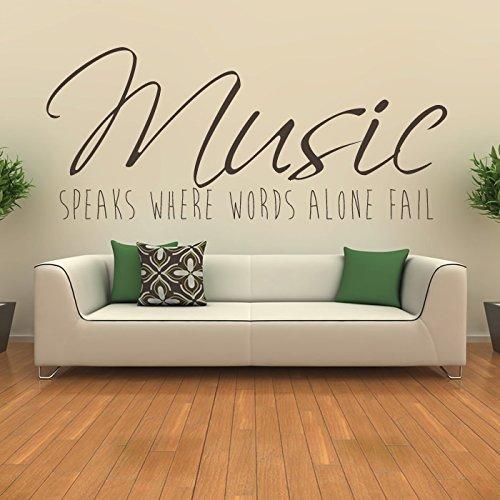 Musik-spricht--Leben-und-Inspiration-Zitat-Wandsticker-Home-Decor-Kunst-Abziehbilder-verfgbar-in-5-Gren-und-25-Farben-Gro-Schwarz