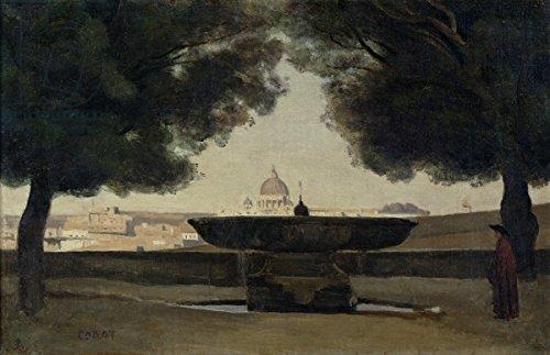 """Leinwand-Bild 60 x 40 cm: """"The Fountain of the French Academy in Rome, 1826-27 (oil on canvas)"""", Bild auf Leinwand"""