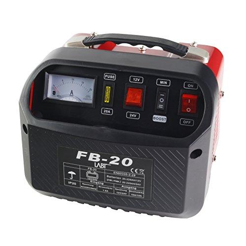 LABT Autobatterie-Ladegerät ? Gelbatterie 12 V/24 V Starterbatterie Batterie Ladegerät für Auto und Motorrad | KFZ Batterieladegerät mit Stahlblechgehäuse, Tragegriff, Polklemmen, Ladekabel