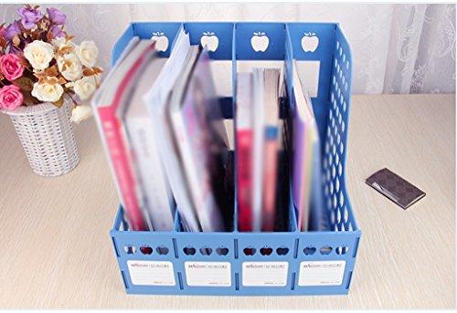 File Rack 318 * 323 * 266mm Múltiples capas Archivo de archivos de caja Rack de archivo de la barra de soporte de libros Azul