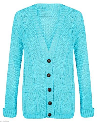 Women Ladies Long Sleeve Button Top Chunky Aran Cable Knitted Grandad Cardigan (M/L (12-14), Aqua)