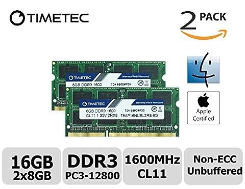 Timetec Hynix IC 16GB Kit (2x8GB) Apple DDR3 1600MHz PC3-12800 SODIMM Memory Upgrade For MacBook Pro 13-inch/15-inch Mid 2012, iMac 21.5-inch Late 2012/Early 2013,27-inch Late 2012/ 2013,Retina 5K display Late 2014/Mid 2015,Mac mini Late 2012/ Server (16GB Kit
