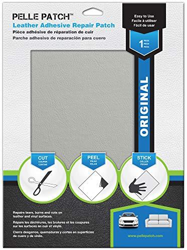 Pelle Patch - Parche Adhesivo de reparación para Cuero y Vinilo - Disponible en 25 Colores - Original 20cm x 28cm - Gris Claro