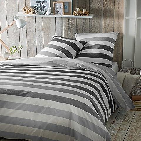 DORAN SOU VANCOUVER GRIGIO biancheria da letto 2 persone: copripiumino 240x220 cm + 2 federe 63x63 cm - Top qualità 100 % cotone