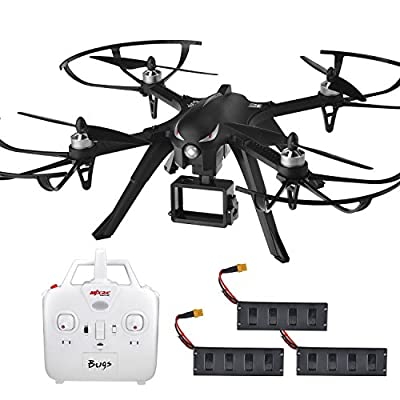 MJX B3 Bugs Profi Drone long Flight Time 18 Minutes Brushless Motors 6A Electric Adjustment 2.4G 4CH 6 Gyroscope 3D Power Board, 3 Batteries, 44x14.5x44 cm