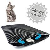 Haustierbote Premium Katzenstreumatte - Wasserdichte Katzenklo Unterlage mit effizientem Bienenwabendesign - 75x55cm-Patent Application in Progress