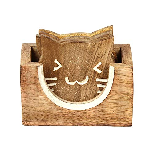 Unvollendete Holz Schreibtisch (aheli Untersetzer aus Holz cat Shaped Halter Set für Drink Holz Bar Untersetzer Tee Kaffee Tasse Tabletop-Drink Set von 4handgefertigt Esszimmerstuhl Home Decor)