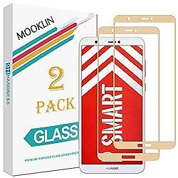 MOOKLIN Huawei P Smart Panzerglas Displayschutzfolie,[2 Stück] [Volle Abdeckung] [Easy Install Kit] [Anti-Kratzen] Vollständige Abdeckung Handy Schutzfolie für Huawei P Smart - Golden