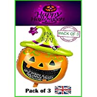 RMCtrends® [Pack of 3 Halloween Balloons Extra Large Giant Pumpkin Foil Party Decoration [105cm X 65cm]