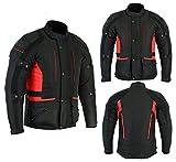 Sterling Sports® Da uomo, colore: Nero/Grigio nero/rosso nero/alta visibilità tessile moto motocicletta giacca impermeabile CE blindata