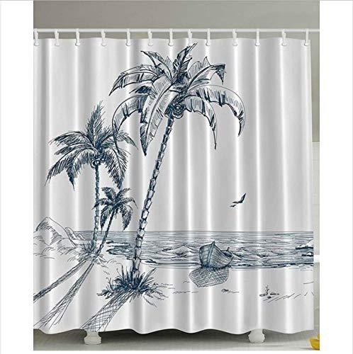 ZLLZY Duschvorhang Mold Proof Resistant Waschbar Bad Vorhänge Wasserdichtes Polyester Mit 12 Haken Palms Beach 180X200 cm (Palm-baum-dusche Vorhang Ringe)