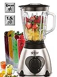 2 in 1 Smoothie Maker | 600 Watt | Glas Edelstahl Standmixer | Kaffemühle | 6-fach Metallmesser | 1,5 Liter | Ice Crusher | Universal Power Mixer | Eiweiß Shaker