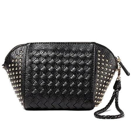 Automne Et Hiver Nouveaux Remorques De Mode Simple Tissage Shoulder Handbag Diagonal Package Shells Girl,Black-OneSize