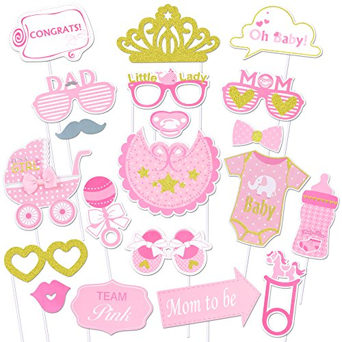 Konsait Baby Shower Photo Booth Props, bebé Ducha Cumpleaños Cabina de Fotos con Accesorios Photocal Biberón Máscaras Gafas para Niños Niñas Regalo Bienvenida Decoracion bebé Fiesta (30piezas)
