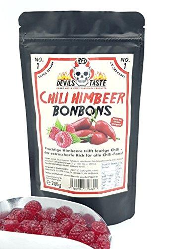 Chili Himbeer Bonbon - zuckerfrei- xtra scharf - 200g - RED DEVILS TASTE - im Zip Beutel