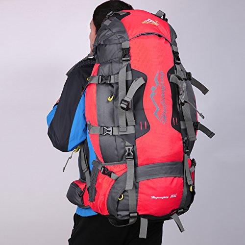 HWJIANFENG Zaino 80L Capacità Grande da Trekking Outdoor da Uomo e Donna Zaino Impermeabile per Alpinismo Escursionismo Corsa Campeggio Montagna rosso