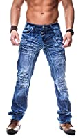 Kosmo Lupo Herren Jeans Hose Japan Style Vintage Clubwear Chino Denim Used Blau