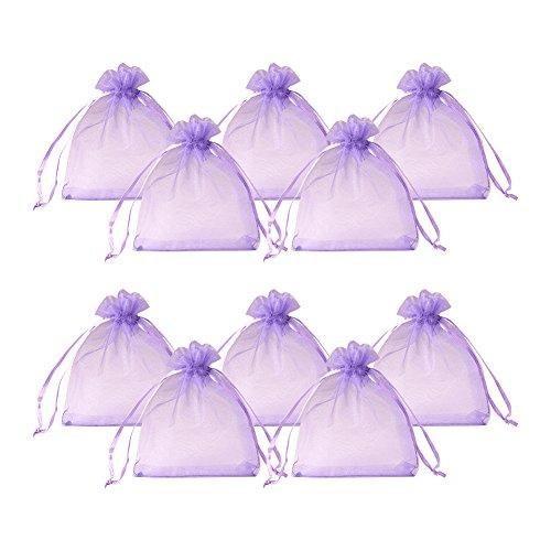 PandaHall Elite 200PCS Sacchetti Organza Sacchetti Regalo Sacchetti Portaconfetti, Colore Viola, 8cm di Larghezza, 10cm di Lunghezza