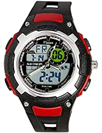 Vizion Black Dial Analog-Digital Dual Time RED Shade Watch For Men-8009017AD-4