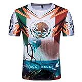 YuanDian 2018 Fußball WM Herren Damen Fans T Shirts 3D Nationalflagge Druck Kurzarm Rundhalsausschnitt Deutschland Fussball Tee Shirt Mexiko L