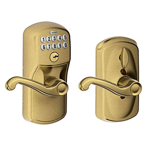 Schlage FE595 PLY 609 FLA Plymouth Keypad Entry with Flex-Lock and Flair Style Levers, Antique Brass by Schlage Lock Company - Fe595 Ply
