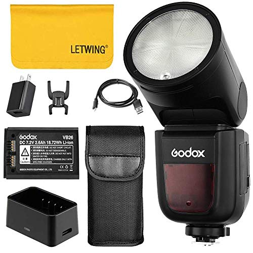 Godox V1-C TTL Runder Kamera Blitz mit 7.2V 2600mAh Lithimu-Akku 1/8000s HSS Blitzgerät für Canon EOS Serie 2000D 3000D 5D Mark Kamera