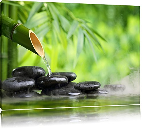 bamboo-fountain-with-stones-canvas-xxl-huge-pictures-completely-framed-with-stretcher-art-print-on-w