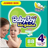 BabyJoy Compressed Diamond Pad, Size 4+, Large+, 12-21 kg, Jumbo Box, 88 Diapers