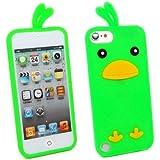 Kit Me Out FR Coque aspect velouté silicone pour Apple iPod Touch 5 / Touch 6 - vert motif poulet mignon