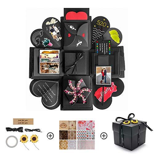 kytuwy Kreative Überraschung Box, Explosion Box, DIY Geschenk Scrapbook und Foto-Album für Weihnachten/Valentine/Jahrestag/Geburtstag/Hochzeit (Schwarz) -