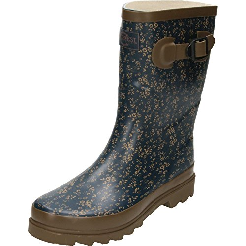 Northwest Territory Rubber Wellington Mid Boots Floral Print Brown Blue