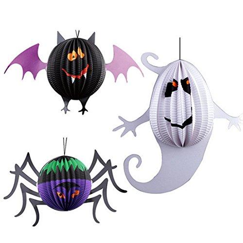 Dekor Halloween Machen Zu Hause Zu (Halloween Dekorationen, Lommer 3Pcs Laterne Set Kindergarten Spuk Haus Halloween Dekor - Spinne + Fledermaus +)