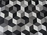 PVC 3D optische Täuschung Cubes, schwarz-grau - von Alpha-Tex 9.95€/m² (Länge: 150 cm, Breite: 400cm)