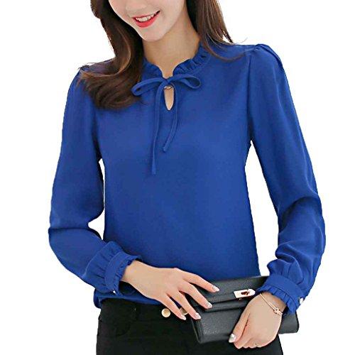 Minzhi Camicetta da donna Slim Fit a maniche lunghe OL Shirt Girocollo Pullover Shirt Top Felpa per la primavera Blu reale