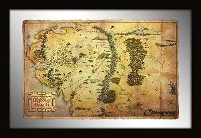 """Empire merchandising 632982 de porte le hobbit """"carte journey 30 x 20 cm-cadre miroir avec imprimés en plastique"""