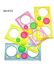 Arishto Spirograph Geometric Ruler Drafting Tools Stationery for Students Drawing Set Learning Art Sets Creative Gift for Children (Pack of 12)