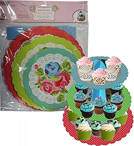 3 TIER CAKE CUPCAKE SANWICH FOOD STAND VINTAGE TEA PARTY DISPLAY BAKEWARE PARTY