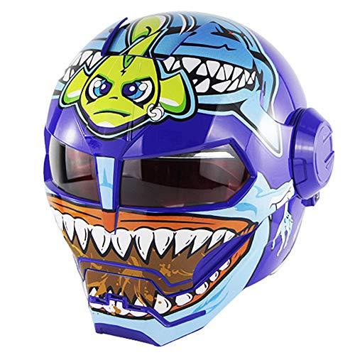 YASULE Casco Moto Blue Big Tooth,Casco Integrale Fronte di Flip del Motociclo del Robot Fresco,Casco Certificato DOT Four Seasons Universal,M:57~58cm
