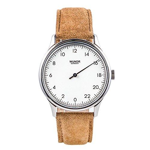 WUNDRWATCH – die 24h Einzeigeruhr für Herren mit Wechselarmbändern (Schweizer Uhrwerk | Italienisches Leder | Wasserdicht bis 100 m | Natostraps)