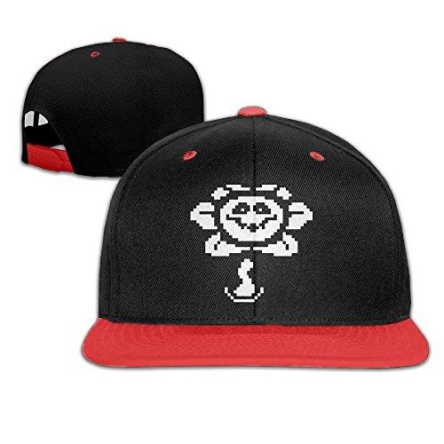 Cap Hat Sunny Fish6hh Unisex Adjustable Undertale Flowey Hiphop Baseball Caps Hat for Kids Teenager Red