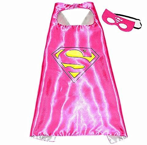 Supergirl Superwoman Superhelden-Kostüme für Kinder - Cape und Maske - Spielsachen für Jungen und Mädchen - Kostüm für Kinder von 3 bis 10 Jahre - für Fasching oder Motto-Partys - King (Karnevals-kostüm-ideen Für Mädchen)