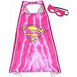 Supergirl Superwoman Superhelden-Kostüme für Kinder - Cape und Maske - mit Spiderman, Frozen Elsa, Batman, Superman -Logo - Spielsachen für Jungen und Mädchen - Kostüm für Kinder von 3 bis 10 Jahre - für Karneval, Fasching oder Motto-Partys! - King Mungo - KMSC009