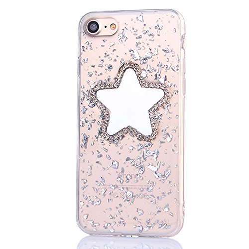 iPhone 7Plus Hülle, CLTPY iPhone 7Plus Glitzer Handytasche Sternspiegel Muster Transparent Silikon Schale Etui mit Sparkly Strass für Apple iPhone 7Plus + 1 x Stylus - Silber Silber