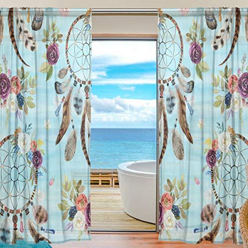 Vinlin Cortina Transparente para Ventana, diseño étnico Bohemio Floral atrapasueños Gasa para Dormitorio, Sala de Estar, 2 Paneles de 140 x 198 cm, 55x78x2(in)