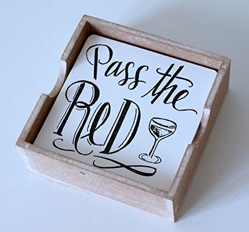 Dessous-de-verre à vin blanc en bois de Style Shabby Chic en bois Mustard Dessous-de-verre - 4 Lot de 2 dessous-de-verre à vin