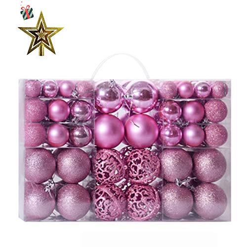 100 pezzi palline per albero di natale, morbuy diametro 3/4/6cm palle di natale in plastica scatola porta applique ornamenti festa decorazioni natalizie albero palle per matrimoni (rosa)