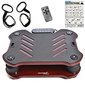 skandika Home Vibration Plate 400, Vibrationsgerät, inklusive Trainingsbänder mit großer rutschsicheren Trainingsfläche, Fernbedienung und Trainingsposter