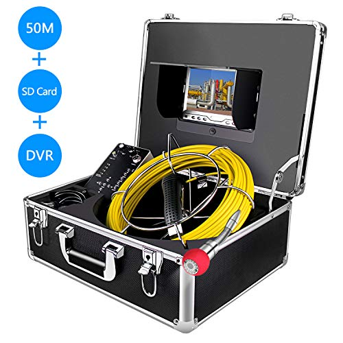 Anysun Rohr-Inspektionskamera, Endoskop, Schlange, wasserfest, IP68-Kamera, mit 50 m Kabel für Techniker/Mechaniker/Klempner mit 7 Zoll LCD-Monitor 1000TVL DVR-Recorder (8G SD-Karte inklusive) Commercial Lcd Monitor
