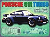 Porsche 911Turbo in schwarz. HINTEN Motor Deutscher Classic aus der 60's To Present. 80Version mit Draft Zeichnungen. VAG Gruppe. Für Benzin Kopf, Garage, Home oder Pub Metall/Stahl Wandschild, stahl, 15 x 20 cm
